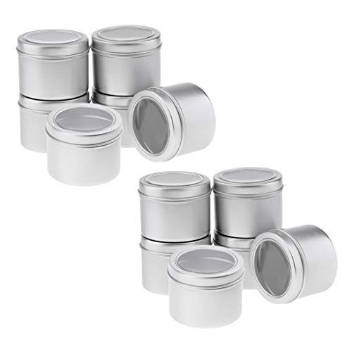 IPOTCH 12 Stücke Aluminiumdosen rund Vorratsdosen mit Schraubdeckel Metalldosen Reisedosen Kosmetik Nachfüllbehälter