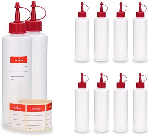 10x 250 ml HDPE Plastikflaschen, z.B. für Liquids, Liquidflaschen bzw. Kunststoffflaschen mit roten Spritzverschlüssen / Tropfverschlüssen, inkl. Beschriftungsetiketten