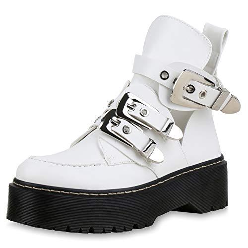 SCARPE VITA Damen Stiefeletten Plateau Boots Leder-Optik Schuhe Kurzschaft-Stiefel Profilsohle Ankle Booties Schnallen 173339 Weiss 39