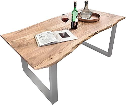 SAM Baumkantentisch 180x90 cm Quarto, Akazienholz massiv + naturfarben lackiert, Esstisch mit Silber...