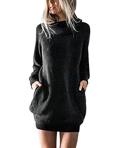Minetom Donna Autunno Inverno Eleganti Pullover Vestiti Sciolto Maglia Abito Caloroso Lungo Pullover a Collo Alto Nero IT 44