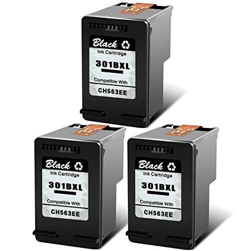 NineLeaf 3 Pack 301 x l schwarz 301 XL kompatible Tintenpatrone Druck wiederaufbereitete Hohe Ergiebigkeit Kapazität CH563EE für HP D1000 1050 1051 1055 1056 2050 2000 2510 2512 - B Deskjet 1000 2050