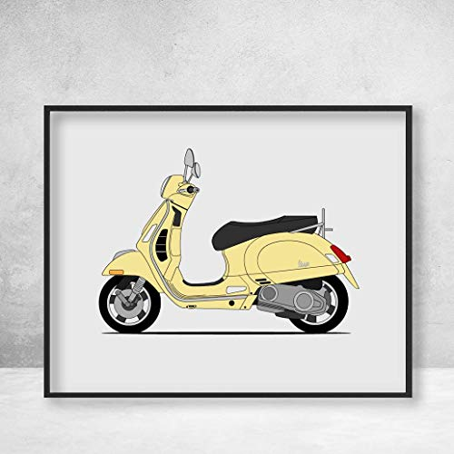 Poster Inspired by Vespa Vintage Italian Scooter Poster Print Wall Art Decor Handmade