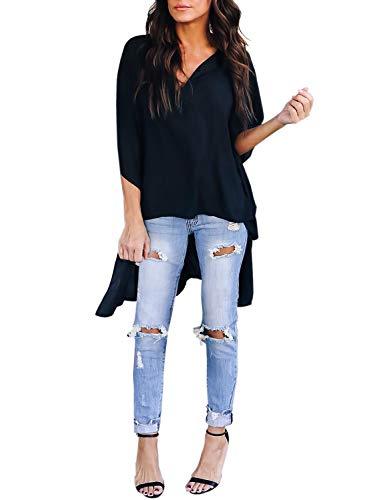 Asvivid Womens V Neck Half Kimono Ruffle Sleeve Tunics Asymmetrical Hem Loose Office Shirt Blouse L Black