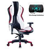 Wolmics Gaming Stuhl Rennstil PU-Leder mit hoher Rückenlehne Bürostuhl PC-Schreibtischstuhl Executive und Ergonomischer Drehstuhl (9017 Rot)