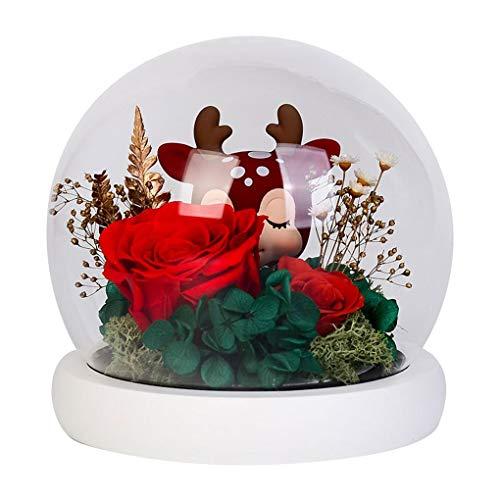 QWERTYUKJ Flor Eterna con Luces Rosa Encantada Elegante Cubierta Redonda De Vidrio Base luz led Blanca Decoración del Hogar para Regalos San Valentín (Color : Pink)