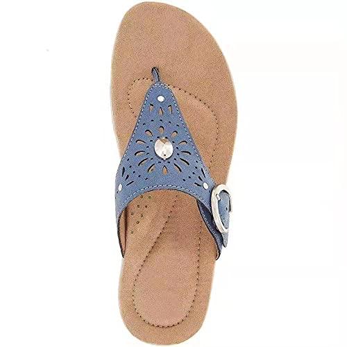 Mxfjolly Zapatillas Summer Hopple, Sandalias Informales con Pendiente de Gran tamaño-Blue_35