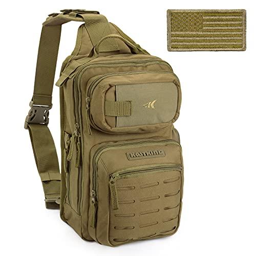 KastKing BlowBak Tactical Fishing Sling Tackle Storage Bag – Lightweight Sling Fishing Backpack - Sling Tool Bag for Fishing Hiking Hunting Camping,Desert Brown
