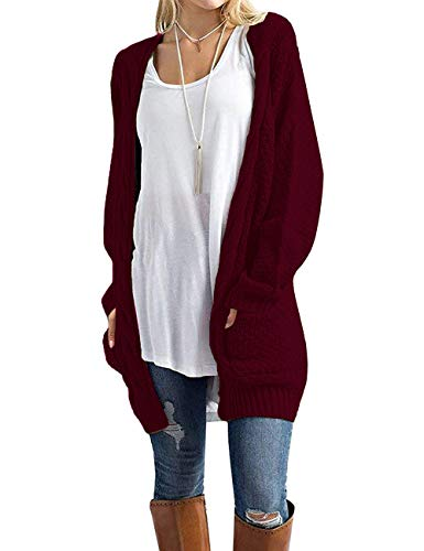 GRECERELLE Women's Loose Open Front Long Sleeve Solid Color Knit Cardigans Sweater Blouses with Packets Wine Red-Small