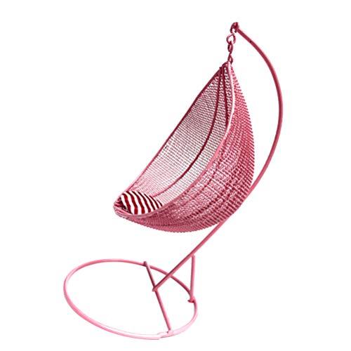 STOBOK Casa de muñecas, mecedora, mini silla colgante de hierro, arte en...