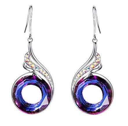 Pendientes mujer largos forma de gota,del simbolico Ave Fenix,Aretes largos mujer,pendientes cristal brillante,Incluye caja regalo.'Azul Tormenta'