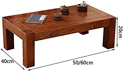 Coffee Tables Solid Wood Small Japanese Style Tatami Bay Window Window Low Table Bedroom Bed Small Table Brown(Size:50x40x25cm)