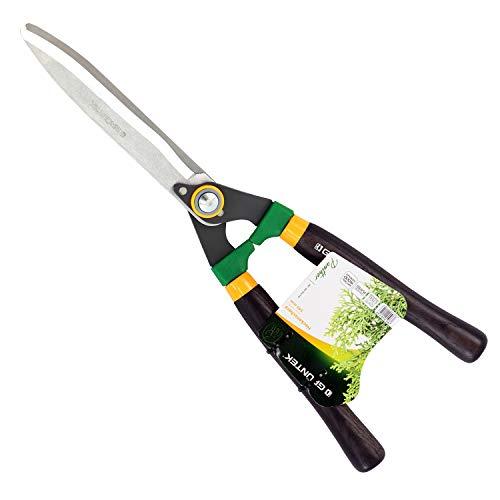 GRÜNTEK Cizalla Cortasetos Tijera de podar 540mm PANTHER. Mango ergonómico de madera de fresno. Tijeras para jardinería y arbustos con hojas de acero dentadas.