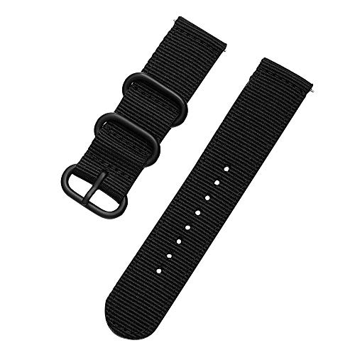 Premium NATO Watch Bands Ballistic Nylon Straps Premium Seat Belt Nylon Watch Bands for Men Women Choice of Color, Length & Width (18mm, 20mm, 22mm or 24mm) (18mm, Black)