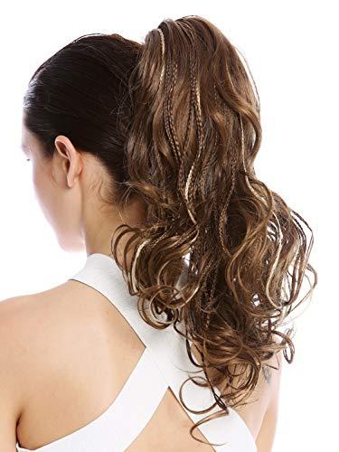 WIG ME UP - N472-V-12TT26 Postiche couette queue de cheval tressée mèches bouclé ondulé brun blond 35 cm
