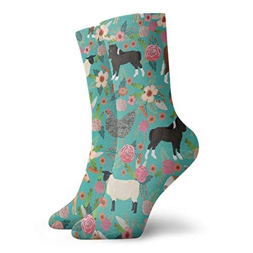 QUEMIN Calcetines Transpirables Animales de Granja Vaca Oveja Cabra Polluelo Calcetines Exóticos Modernos Mujeres y Hombres Impresos Calcetines Deportivos Deportivos Calcetines de 30 cm