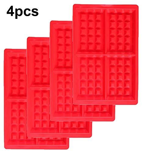 WENTS Waffeln Formkuchenform 4 PCS Silikon Backform Kuchenform Eiswürfelform Schokoladen Süßigkeiten Formen Rot Rechteckige
