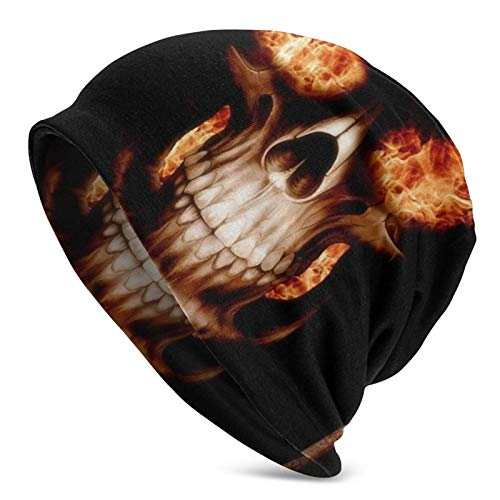 BGDFN Llamas Calaveras Fuego Arte Digital Gorro de Punto Gorro cálido Gorros elásticos con puños Suaves Gorro Diario para Unisex Negro