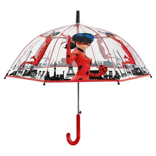 Perletti Ladybug Regenschirm, transparent, 70 cm, automatisch, mehrfarbig, 70 cm