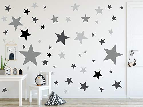 timalo® 120 Stück Wandtattoo Kinderzimmer XL Sterne Pastell Wandsticker – Aufkleber   73079-SET22-120