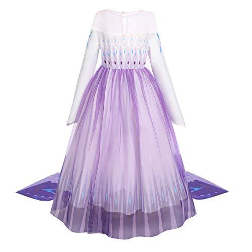 FYMNSI Disfraz de princesa de Elsa para nios y nias, disfraz de reina de nieve, vestido largo de tul para Halloween, carnaval, cosplay, Navidad, fiesta de cumpleaos, regalo para 2-14 aos