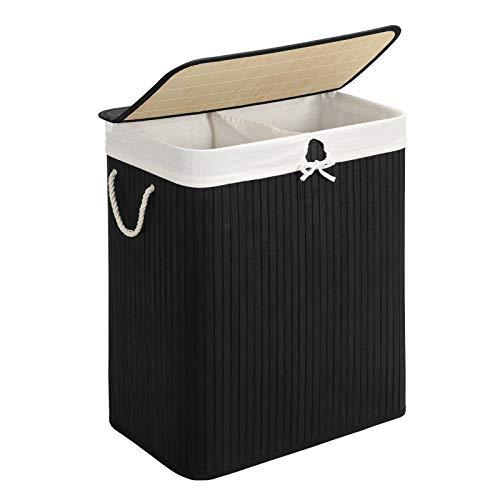 SONGMICS Wäschekorb aus Bambus, Wäschesammler mit 2 Fächern, Wäschesortierer mit Deckel und herausnehmbarem Wäschesack, Tragegriffe aus Baumwolle, 100 L Wäschebox, schwarz LCB64BK