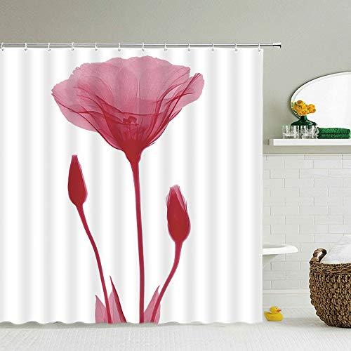 XCBN Flor Diente de león Planta de Rosa roja Cortinas de Ducha Frescas Cortina de baño Cortina de baño Impermeable Frabic con Ganchos A3 150x200cm