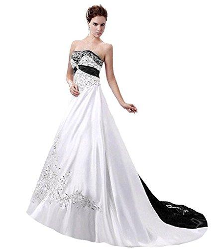 APXPF Damen Satin Stickerei Brautkleid mit Kathedrale Zug 22 Plus weiß und Schwarz