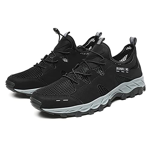 Zapatos de Senderismo para Montar En La Playa Al Aire Libre Huecos de Verano,Zapatos de Senderismo para Hombres,Zapatos de Viaje,Zapatos Deportivos Casuales Ligeros y Transpirables,Black-46