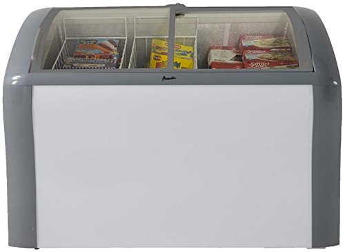 """Avanti CFC83Q0WG 41"""" Commercial Convertible Freezer/Refrigerator with 9.3 cu. ft. Capacity Glass Top Display 2 Removable Storage Baskets Adjustable Thermostat Lock and Rollers:"""