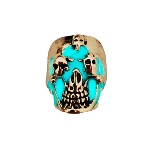 Amosfun Anillo de cráneo para hombre, estilo gótico, punk, diseño retro con calavera, anillo ajustable, accesorio para Halloween, regalo de invitados (color aleatorio)