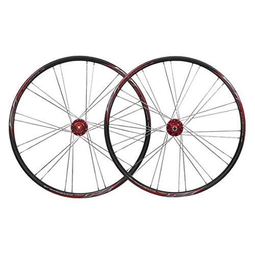 LLLKKK Ruedas de bicicleta de carretera de 26 pulgadas de liberación rápida de aleación de aluminio de doble pared disco V- freno 8 9 10 velocidad volante negro ultraligero ruedas de bicicleta