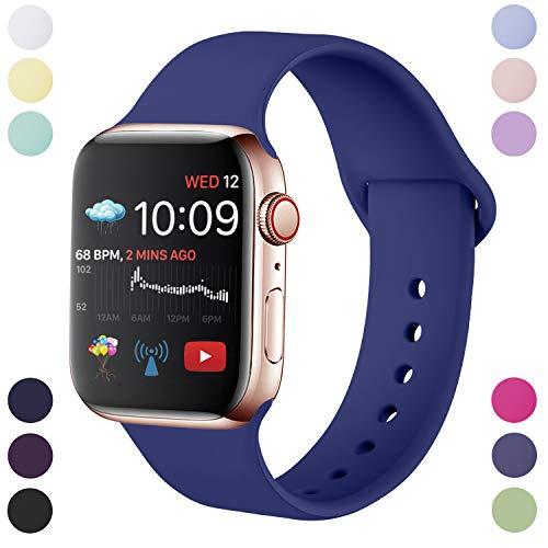 Hamily Correa Compatible con Apple Watch 38mm 40mm, Correa de Repuesto de Silicona Suave para Apple Watch Series 5/4/3/2/1, M/L, Azul