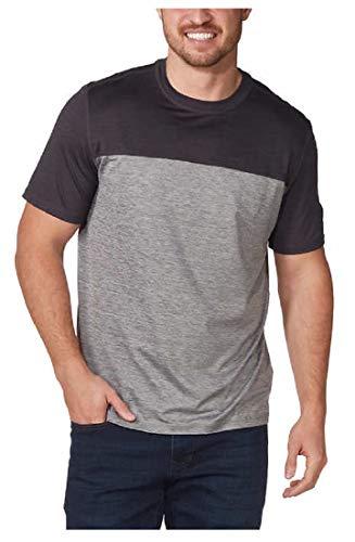 G.H. Bass & Co. Men's Short Sleeve Crew Neck Tee Shirt UPF 50 2 Pieced Colorblock Tee (M, Black)