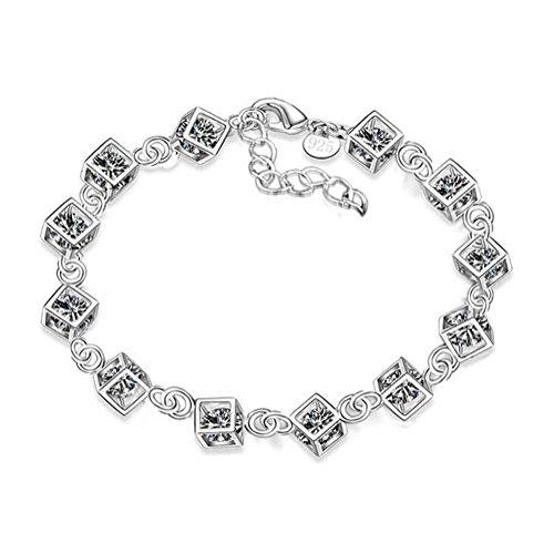Hosaire 1x Charm Fashion Checkered Diamant Armband Kette Silber für Frauen Mädchen,Silber