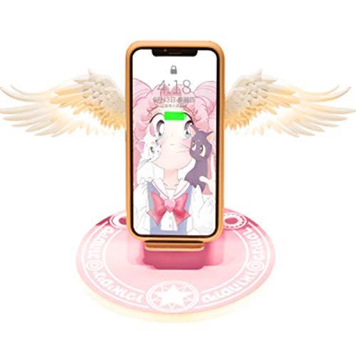LWSS Angel Wings Se Puede Abrir Y Cerrar Cargador Inalámbrico 10W Modelo Inalámbrico De Carga Rápida Universal 7in/Rosa