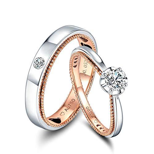 KnSam Anillo Oro de 18K, Redondo Forma Anillo de Compromiso con Diamante Blanco 0.33ct, Mujer Talla 20 y Hombre Talla 18,5 (Precio por 2 Anillos)