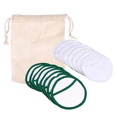 Lurrose 16 stuks wasbare make-up pads van bamboe herbruikbare cosmetica pads natuurlijke biologische katoen make-up verwijdering met tas (2 patronen)