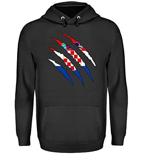 PlimPlom Kroatien Pullover Land Flagge Design Pulli Sweatshirt Spaßgeschenk Geschenk Idee - Unisex Kapuzenpullover Hoodie -M-Jet Schwarz