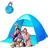 ZTWLEED Tente de Plage Pop-up,Tente Anti UV UPF 50+ , Automatique Pop Up Tente avec 360° Ventilation,Tente Portable 2 à 4 Personnes, Escamotable, Tente de Camping pour Famille,Randonnée, Pêche(Bleu)
