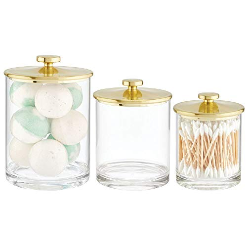 mDesign Plastic Round Bathroom Vanity Countertop Storage Organizer Apothecary Canister Jar for Cotton Swabs, Rounds, Balls, Makeup Sponges, Bath Salts, Set of 3, Small/Medium/Large - Soft Brass/Clear