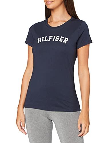 Tommy Hilfiger SS tee Print Camiseta, Azul (Navy Blazer 416), S para Mujer