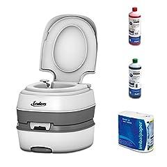 Enders Camping Toilet Starter Set - Small Outdoor Camping Toilet incl. Sanitair Vloeistof en Toiletpapier, Mobiel Chemisch Toilet, Camping Toilet, Toiletbril - Wit*