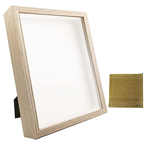 SUNMEG Cornice 3D Profonda Cornice 20 x 25 cm- Cornici per Foto per Oggetti fino a 3 cm- Cornici di Forma Quadrata da Hppendere a Parete o da Scrivania (Colore del legno, 20 x 25cm)
