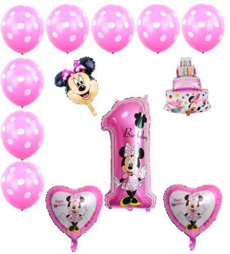 Generisch Ballon-Set Minnie Mouse 1. Geburtstag , Party Kindergeburtstag, Luftballon, Set, 13-teilig