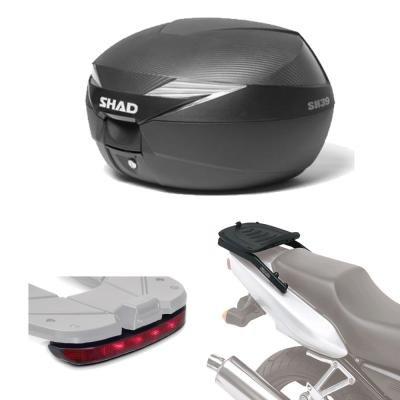 SH39LUHE152 - Kit fijacion y Maleta baul Trasero + luz de Freno Regalo SH39 Compatible con Yamaha YS 125 17 Yamaha YS 125 2017-2017