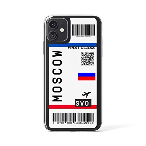 Schattig First Class Vliegtuig Ticket Telefoonhoesje Voor Iphone 11Pro Max 7 8 Plus X Xr Xs Max Vlucht Ticket Letter Zachte Siliconen Back Cover, for iphone 7 8, Moskou