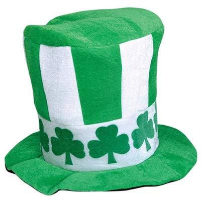 Générique Dizie Chapeau irlandais en velours haut de forme vert trèfle Chapeau adulte de fête de la Saint-Patrick