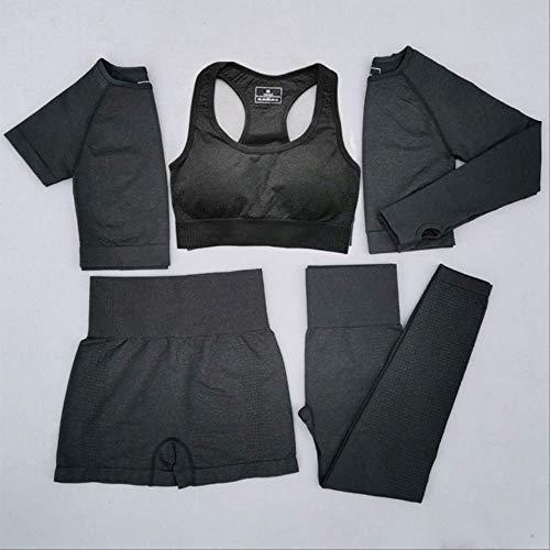 Ollt Frauen Vital Seamless Yoga Set Workout Sport Wear Sportbekleidung Kurz- / Langarm-Crop-Top Leggings mit hoher Taille Sportanzug L 5-teiliges schwarzes Set