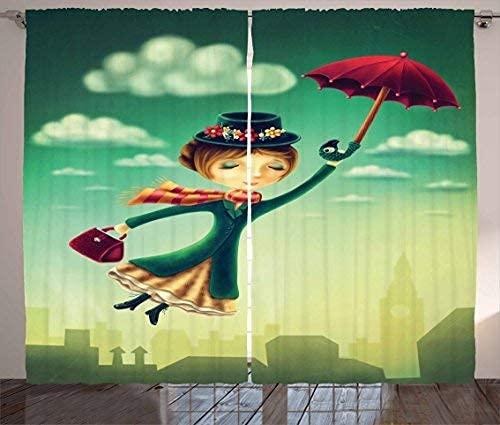 N\A Fantasie Vorhänge, Cartoon Märchen Nanny mit magischen Regenschirm und Tasche über London Skyline fliegen, Vorhang für Schlafzimmer Esszimmer Wohnzimmer 2 Panel Set Multicolor